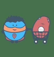 Super héro avec un Nirbi dans son Caddy