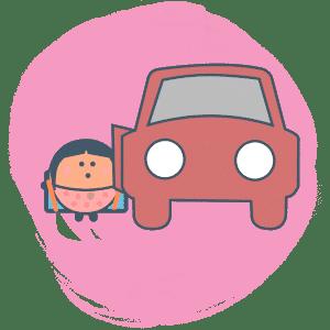 Enfant montant dans une voiture