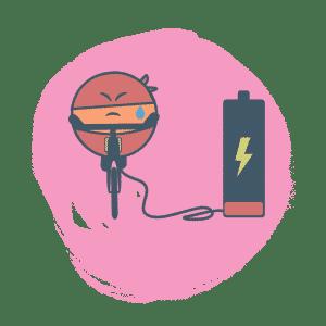 Super héros rechargeant une batterie en pédalant