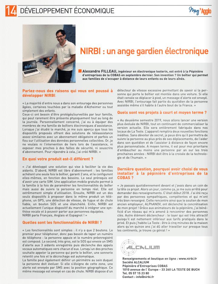 Article de Mag'agglo n°12 sur Nirbi