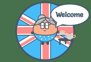 Drapeau Anglais disant Bienvenue