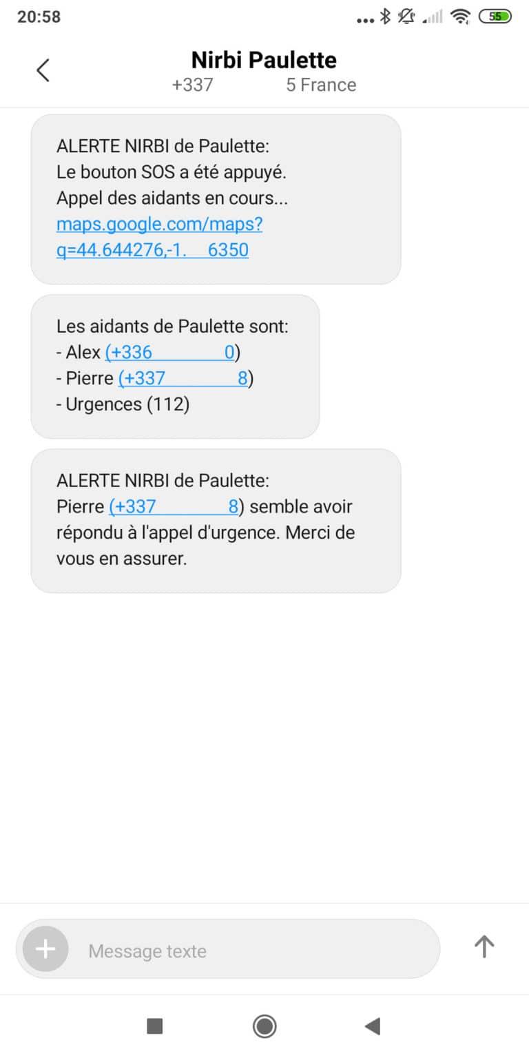 exemple de SMS envoyé par Nirbi