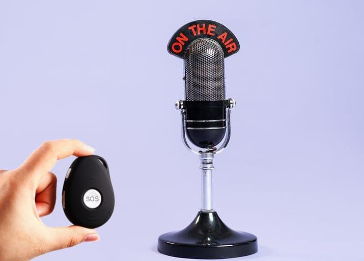 nirbi à côté d'un microphone